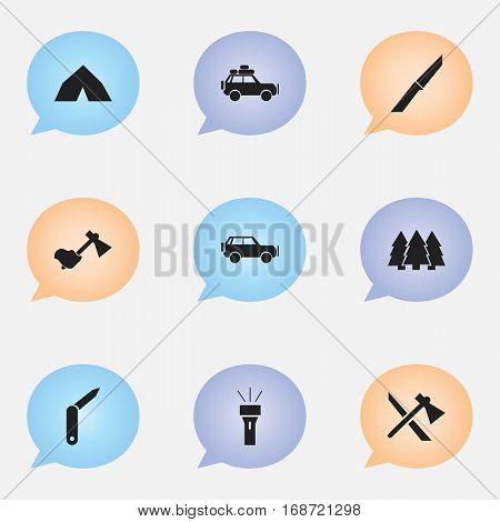 Set Of 9 Editable Trip Icons. Includes Symbols Such As Pine, Tomahawk, Knife And More. Can Be Used For Web, Mobile, UI And Infographic Design.