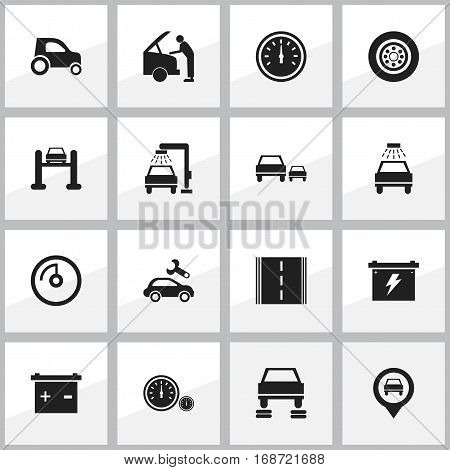 Set Of 16 Editable Traffic Icons. Includes Symbols Such As Vehicle Car, Car Fixing, Vehicle Wash And More. Can Be Used For Web, Mobile, UI And Infographic Design.