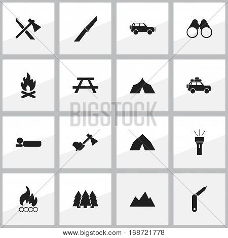 Set Of 16 Editable Trip Icons. Includes Symbols Such As Pine, Ax, Peak And More. Can Be Used For Web, Mobile, UI And Infographic Design.