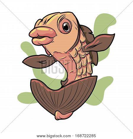 goldfish with seaweed on white background icon
