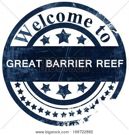 Great barrier reef stamp on white background