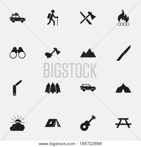 Set Of 16 Editable Travel Icons. Includes Symbols Such As Clasp-Knife, Desk, Peak And More. Can Be Used For Web, Mobile, UI And Infographic Design.