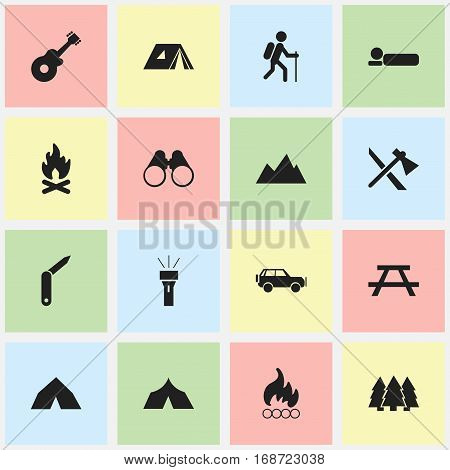 Set Of 16 Editable Travel Icons. Includes Symbols Such As Tepee, Musical Instrument, Peak And More. Can Be Used For Web, Mobile, UI And Infographic Design.
