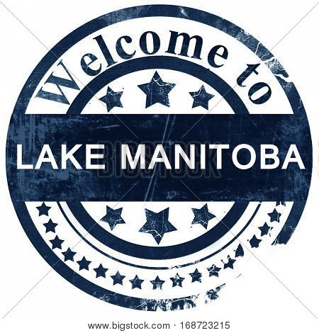 Lake manitoba stamp on white background