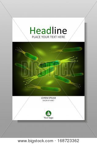 Cover design template in A4. Helicobacter pylori bacteria green background on a dark background. Vector. Good for banners covers books journals conference magazines flyers.