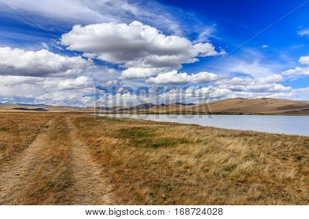 Amazing summer landscape with mountains, river and blue sky with clouds. Plateau Ukok