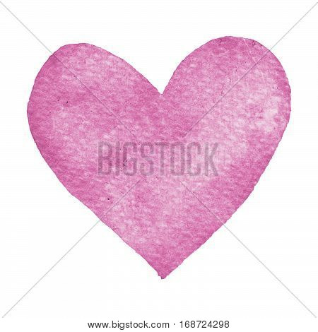 Heart purple painted watercolor. Big heart isolated on white background for text design label valentines day. Abstract aquarelle romantic element for card print icon