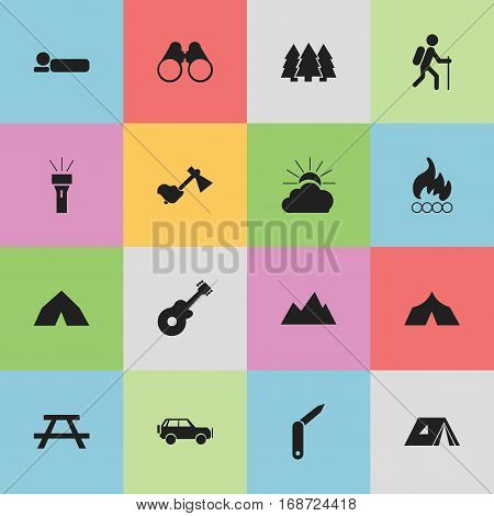 Set Of 16 Editable Camping Icons. Includes Symbols Such As Bedroll, Peak, Sport Vehicle And More. Can Be Used For Web, Mobile, UI And Infographic Design.