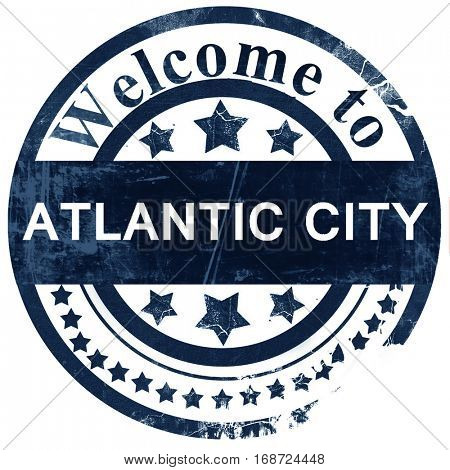 atlantic city stamp on white background