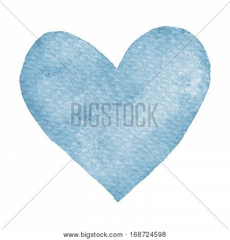 Heart blue painted watercolor. Big blue heart isolated on white background for text design label valentines day. Abstract aquarelle romantic element for card print icon