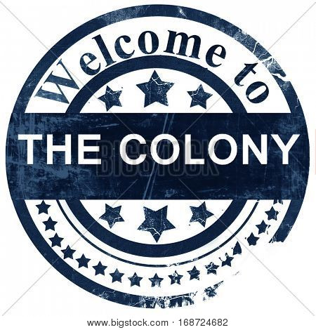 the colony stamp on white background