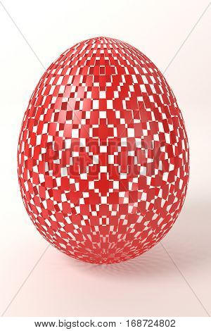 red shiny checkered easter egg on the white background, 3d rendering