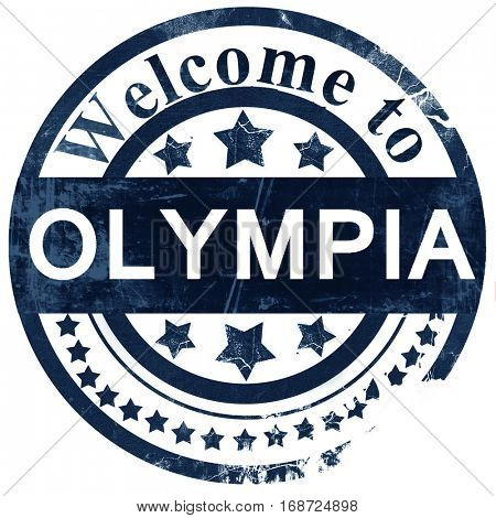olympia stamp on white background