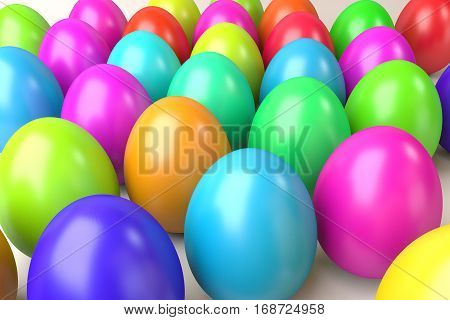 many rendered shiny colorful easter eggs in perspective view, 3d rendering