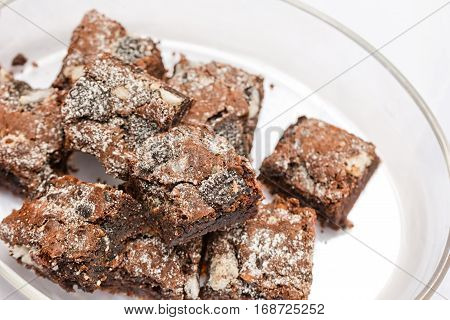 Delicious Freshly baked homemade cookies and cream brownies. Selective focus on the top of brownie