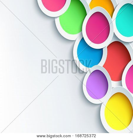 Trendy festive abstract grey-white background with 3d colorful Easter egg cutting paper. Greeting or invitation card. Beautiful creative modern wallpaper. Vector illustration