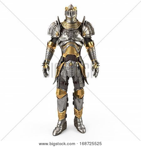 Full fantasy medieval iron suit 3d illustration