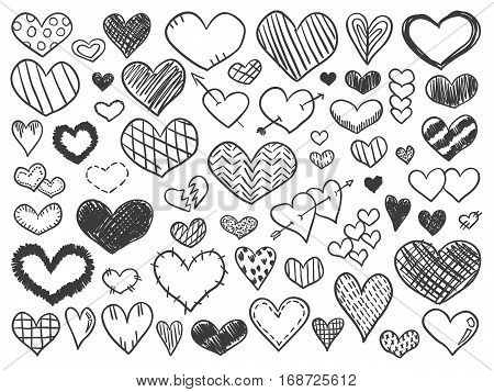 Valentines Day Hearts Doodles Set Sketch Stickers Pencil