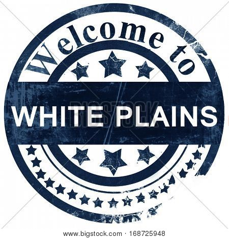 white plains stamp on white background