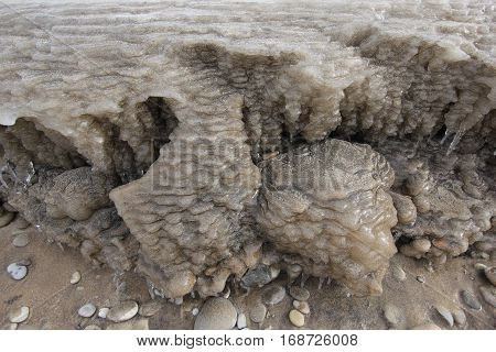 Ice formations of a Lake Michigan beach in Michigan