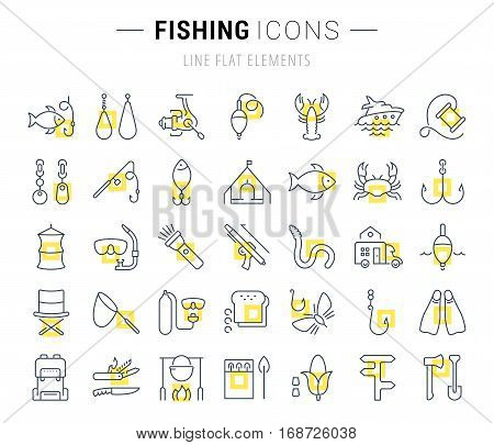 Set vector line icons sign and symbols in flat design fishing with elements for mobile concepts and web apps. Collection modern infographic logo and pictogram.