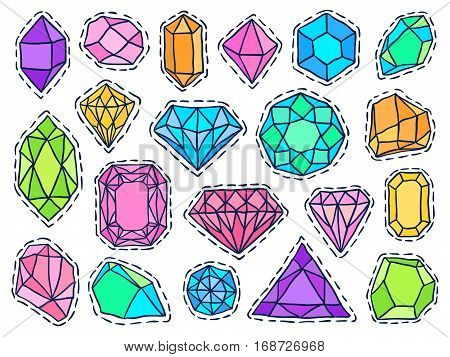 Gems patch badges set. Doodle sketch vector. Comic stickers with jewelry stones. Social media badges. Diamonds brilliants and crystals. Fashionable jewel pins.