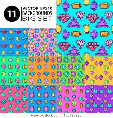 Gems patterns set. Doodle sketch vector textures collection. Comic stickers with jewelry stones simple backgrounds. Diamonds brilliants crystals and jewels.