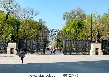 MEXICO CITY,MEXICO - DECEMBER 27, 2016 : The lions gate entrance to the Chapultepec Park in Mexico City