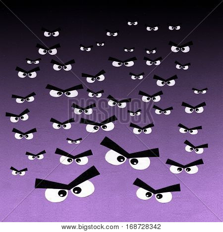 Crowd of angry eyes on dark background. Pattern of many human cute eyes are visible in the dark night. Strange scary eyes in the dark.