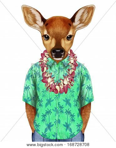 portrait of fawn in a summer shirt with hawaiian lei. hand-drawn illustration, digitally colored.