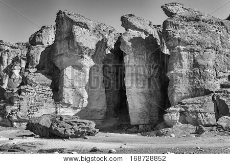The Famous Solomons Pillars - Sandstone geological attraction in Timna Park near to Eilat Israel. (Black and White fully Dynamic harsh)