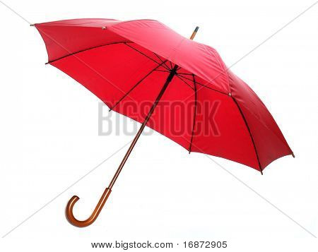 Studio shot of classic red umbrella isolated on white.