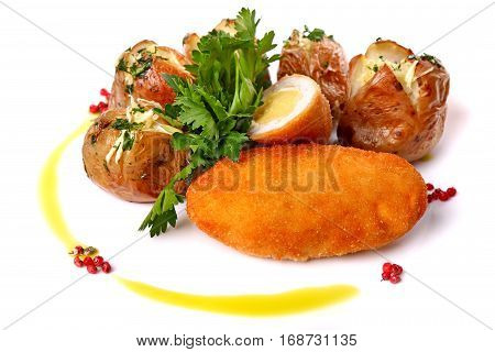 Chicken Kiev With Potatoes And Parsley