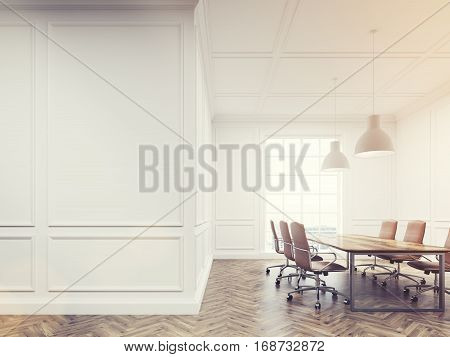Meeting Room With White Walls, Toned