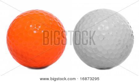 Two golf balls isolated on white background.