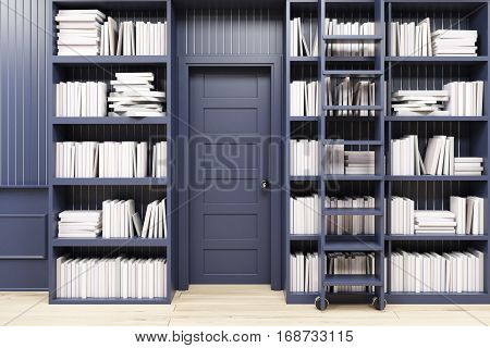 Home Library With A Ladder, Black