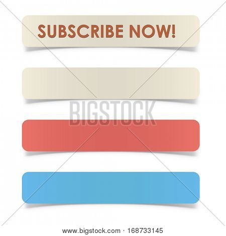 Rectangular button with rounded corners and curved paper shadow effect vector template.