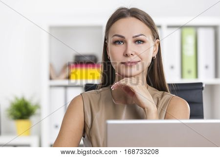 Close Up Of Sceptical Businesswoman In Office
