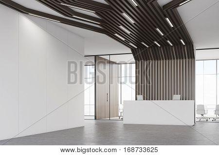 Reception Desk And Black Pipes, Corner