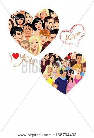 vector portraits of people faces, girls and men in heart, valentines day