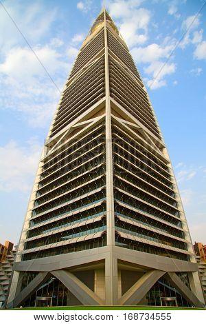 RIYADH - AUGUST 22: Sunset light at Al Faisaliah tower facade on August 22, 2016 in Riyadh, Saudi Arabia. Al Faisaliah towers is a luxury hotel and the most distinctive skyscraper in Saudi Arabia