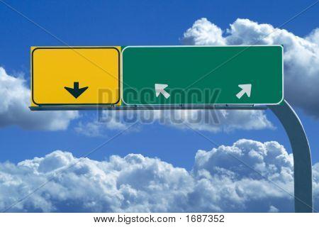 Blank Freeway Sign In Blue Cloudy Skies