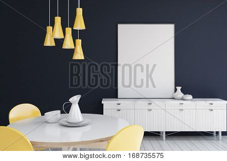 Living Room With Dark Blue Walls, Poster