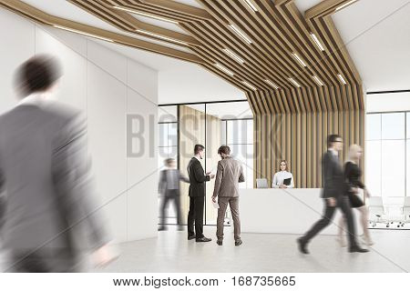 Business People In A Room With Pipes