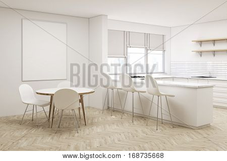 Corner Of White Kitchen With Round Table