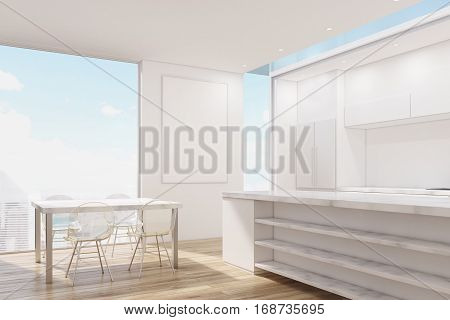 Corner Of Marble Kitchen With Poster