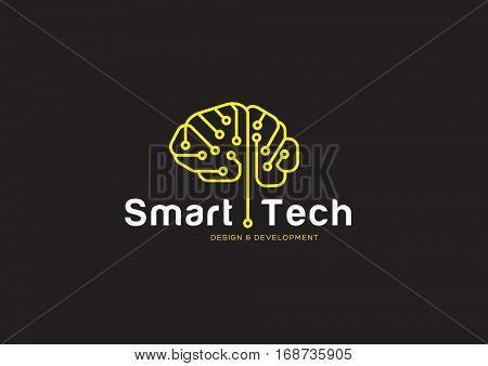 CIRCUIT BRAIN , CONCEPTUAL LOGO / ICON