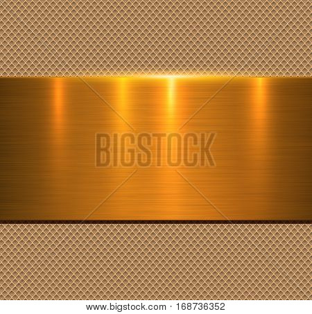 Background gold metal texture, vector illustration.