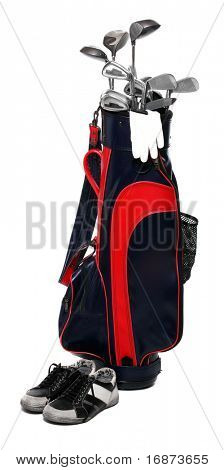 Golf club bag, golfshoe and glove on white background.