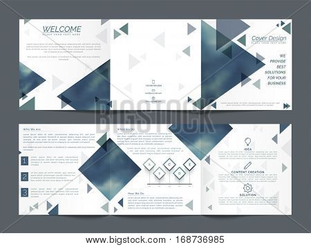 Three Fold Business Brochure design with front, back and inner pages presentation.